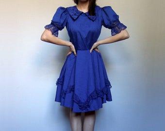 Royal Blue Dress Vintage Swing Dress Full Skirt Dress Puff Sleeve Dress Blue Prairie Dress Country Dress - Extra Small to Small XS S