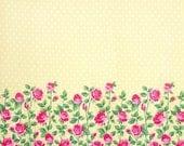 "SALE Yellow Sateen Rose Border Print, Gertie by Gretchen Hirsch Fabric, 43"" wide, 1 yard"