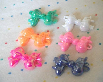 Rainbow Plastic Hair Bow Clips - Hot Pink, Orange, Green, Violet, Light Pink and White - AB Finish, Bow Charms, 40 mm Long (6)