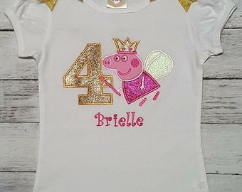 4th Birthday PEPPA PIG PERSONALIZED Hot Pink & Gold Shirt Or Onesie 1st 2nd 3rd 4th 5th 6th 7th 8th Birthday