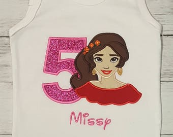 Birthday ELENA Of Avalor Hot Pink & Red Glitter Personalized NAME  Shirt, Onesie Tank Disney Bound Theme 1st 2nd 3rd 4th 5th Birthday Shirt
