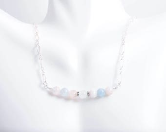 Morganite Bar Necklace - Morganite Bar Necklace - Sterling Silver Bar Necklace - Morganite and Silver Necklace - Morganite Jewelry - Pastel