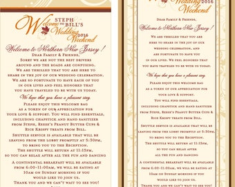 Fall Wedding Welcome Cards - Wedding Itinerary Cards - Hotel Welcome Cards - Your colors -  Fall Weddings - Thank You Cards