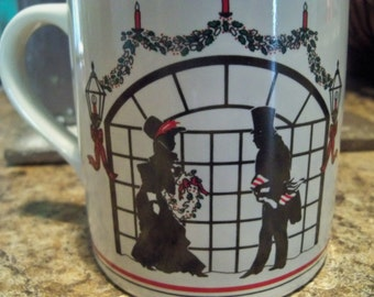 silhouette Christmas mug woman and man romantic