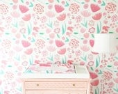 Removable Wallpaper / Cecily's Secret Garden / Assorted quantities / Perfect for Renters