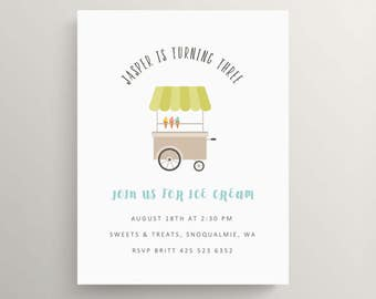 ice cream cart birthday invitation set // baby shower invitation // ice cream party // ice cream cone // thank you note // sundae // picnic