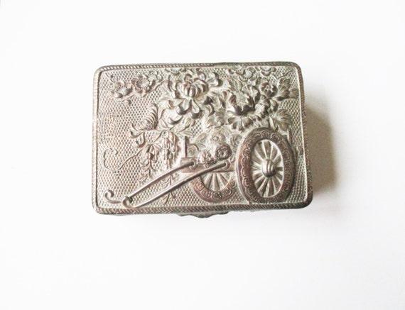 Vintage cufflinks destash: Instant collection destash of cufflinks, inside an embossed silver metal trinket box with pink satin lining