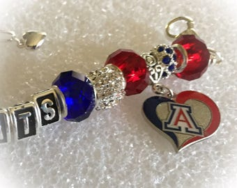ARIZONA WILDCATS inspired University of Arizona Jewelry bracelets handmade