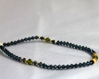 Dark Montana blue & Olivine Swarovski Crystal with Gold Anklet