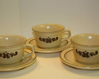 1970s Pfaltzgraff Village Cups and Saucers
