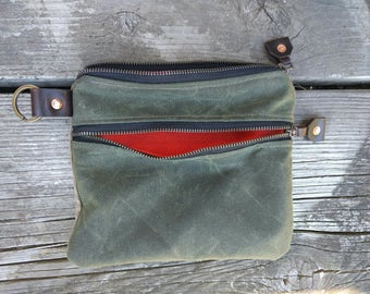 Double Zip Waxed Canvas and Cordura Pouch