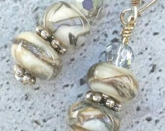 Cream and reactive raku lampwork earrings