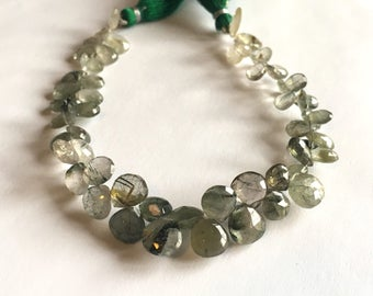 Green Rutilated Quartz faceted briolettes, 8 inch strand, 6-10mm (w103)