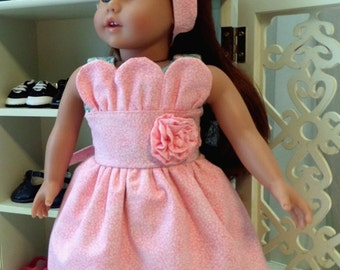 18 Inch Doll Clothes / Doll Dress And Doll Headband / Dress / Headband / Doll Clothes / Doll Clothing / Doll Accessories  - 1087