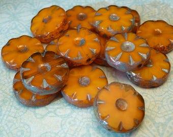 Mango Glass Flower Coin beads 12mm  - 4pc