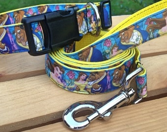 ALMOST SOLD OUT! Beauty and the beast dog collar & or leash on yellow webbing