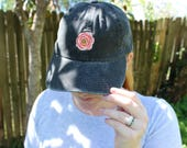 The Poppy Baseball Hat * Designer Hat * Floral Flower Bouquet Hat * Pigment Dyed * Stone Gray Green