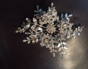 Large vintage floral rhinestone pin or pendant