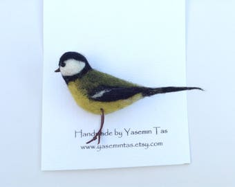 Felted Great Tit Brooch