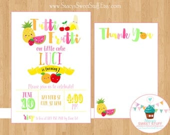 Tutti Frutti Cutie Birthday Invitation, Tutti Fruity, Two-ti Fruity, Two-ti Frutti, Printable Invitation, Birthday Invite, DIY