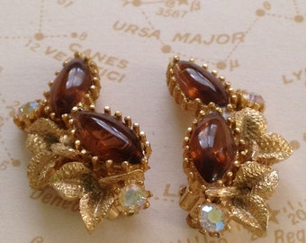50's / 60's ORNATE Faux Topaz  with Rhinestones / Marquis Amber/Honey Colored Glass with Sparkly Rhinestones & Leaves Clip On Earrings