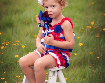 4th of July Romper - Satin Red White Blue Romper-American outfit -Baby Sunsuit-Bubble Romper -Ruffle Bottom - Girls 4th of July Outfit- Flag