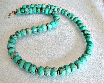 Turquoise beaded statement Necklace. Turquoise Jewelry. Faceted Turquoise Jewelry.