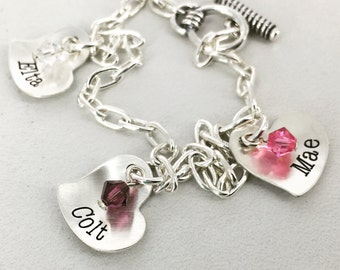 Personalized tiny heart bracelet with birthstone crystals - Sterling silver - Personalized Bracelet - Engraved Jewelry - Engraved Bracelet
