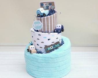 Car Baby Shower, Race Car Diaper Cake, Boy Diaper Cake, Gift for Baby Boy, Modern Baby Gift, Race Car Baby Gift, Boy Shower Cake