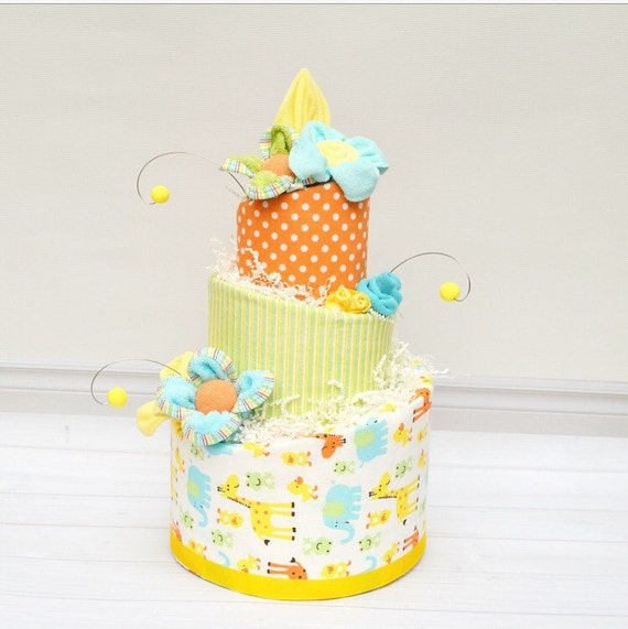Baby Gifts For Gender Neutral : Diaper cake gender neutral baby gift safari
