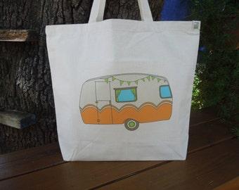 Natural cotton market tote - Yoga tote - Reusable canvas shopping bag - Farmers market tote - Reusable shopping bag - Vintage camper