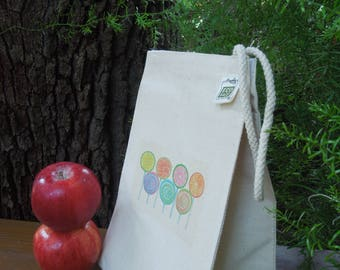 Recycled cotton lunch bag - Canvas lunch bag - Children lunch bag -Lollipops