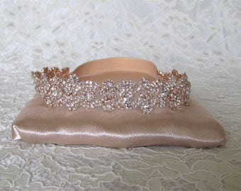 Rose Gold Crystal Rhinestone Bridal Garter,Wedding Garter,Bridal Accessories,Style #G29