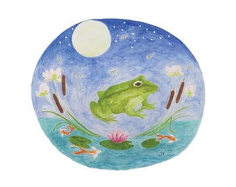 Frog and Friends - Watercolor Archival Print - Nursery