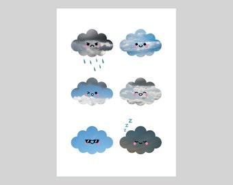 Cloud Collection, A5 Print, Original Weather Kawaii Illustration