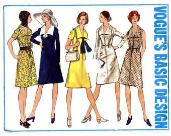 1970s A Line Dress Pattern Zip Front Day Dress Wide Collar Sleeveless Long Sleeve Vogue 2487 Basic Design Bust 36 Vintage Sewing Pattern