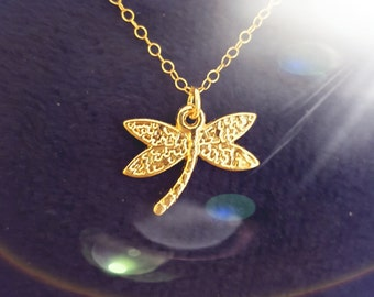 Gold necklace, Tiny dragonfly necklace, gold chain, gold jewelry, gold asymmetrical dragonfly necklace