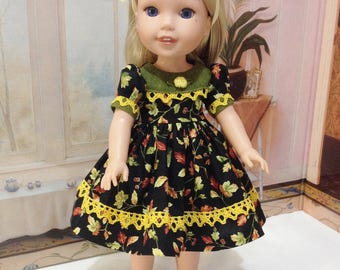 "sale WW or  H4H ""Fall leaves"" dress and  slip fits American girl Wellie Wishers and H4H dolls"