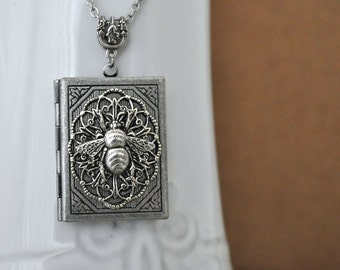 womens locket necklace - THE BEE LOCKET - antiqued silver bumble bee locket necklace, filigree, victorian style locket necklace