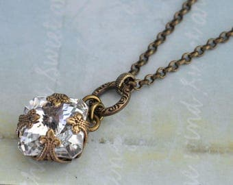 bridal jewelery necklace - VINTAGE SPARKLE - antiqued brass necklace with vintage  Swarovski glass crystal jewel wrapped