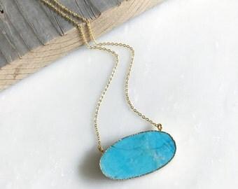 Long Turquoise and Rhinestone Necklace