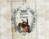 Easter, French Rabbit Tags, Easter Tags, Bunny Tags, Joyeuses Paques