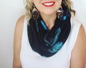 RESERVED for Reda Womens Silky Black and Blue Feather Motif Modern Stylish Tribal Infinity Scarf, Cowl, Accessories Christmas Gift