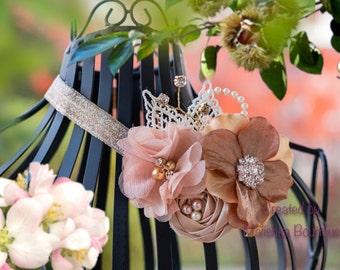 Girls Headband, Bronze Gold Beige w glass pearl beads fabric flowers cream lace shimmer rhinestones pearls Newborn Baby Christmas Photo Prop