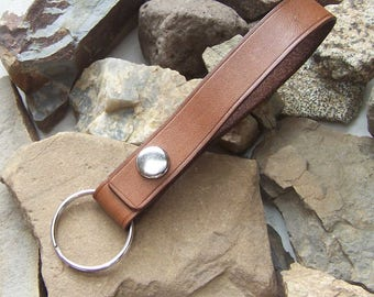 Plain Leather Key Ring, Tooled Boarder Leather Key Fob, Belt Loop Key Chain, Gift for him husband, Never Lose Them again, Purse Key Holder