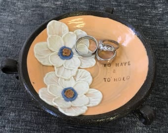 Ceramic Wedding Ring Bowl, with Poppies in Tangerine and Brown Stoneware Clay