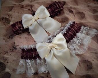 Burgundy Maroon Plaid Ivory Satin Ivory Lace Wedding Bridal Garter Toss Set