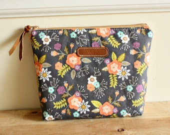 Grey floral Pouch/clutch/ Zipper purse/ makeup bag /leather trim- Ready