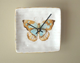 6 Inch Small Butterfly Wall Clock, SILENT Ceramic Plate Clock, Unique Wall Decor, Kitchen Clock, Butterfly and Script Wall Clock - 2371