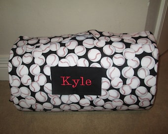 MONOGRAMMED Childrens Pre School THICK COMFY Baseball   w/ Attached Red Dotted Minky Blanket and Attached Pillow